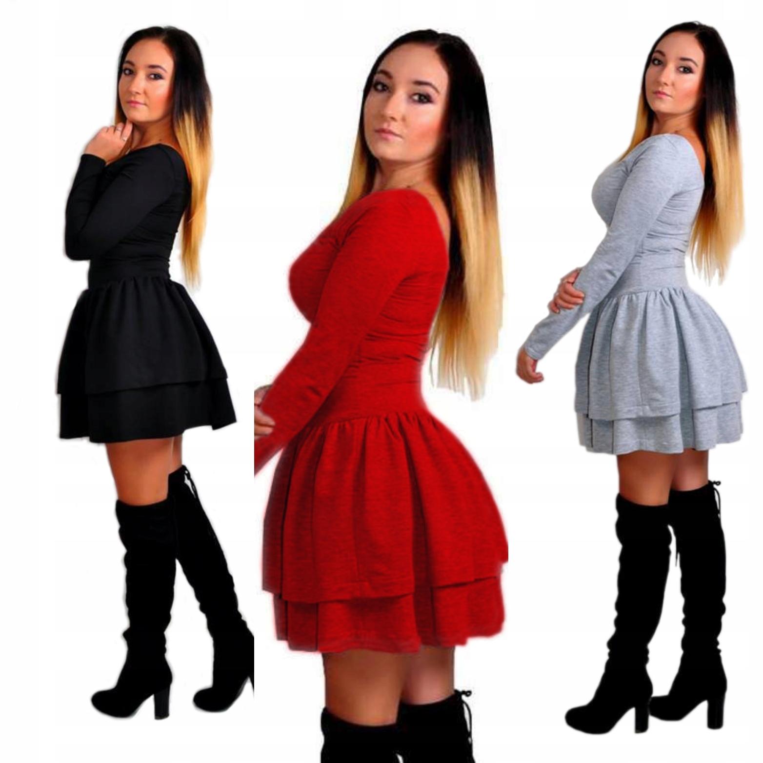 b9ca07948e Sukienka dresowa z Falbankami rękaw 2 kolory S M - 7047857774 ...