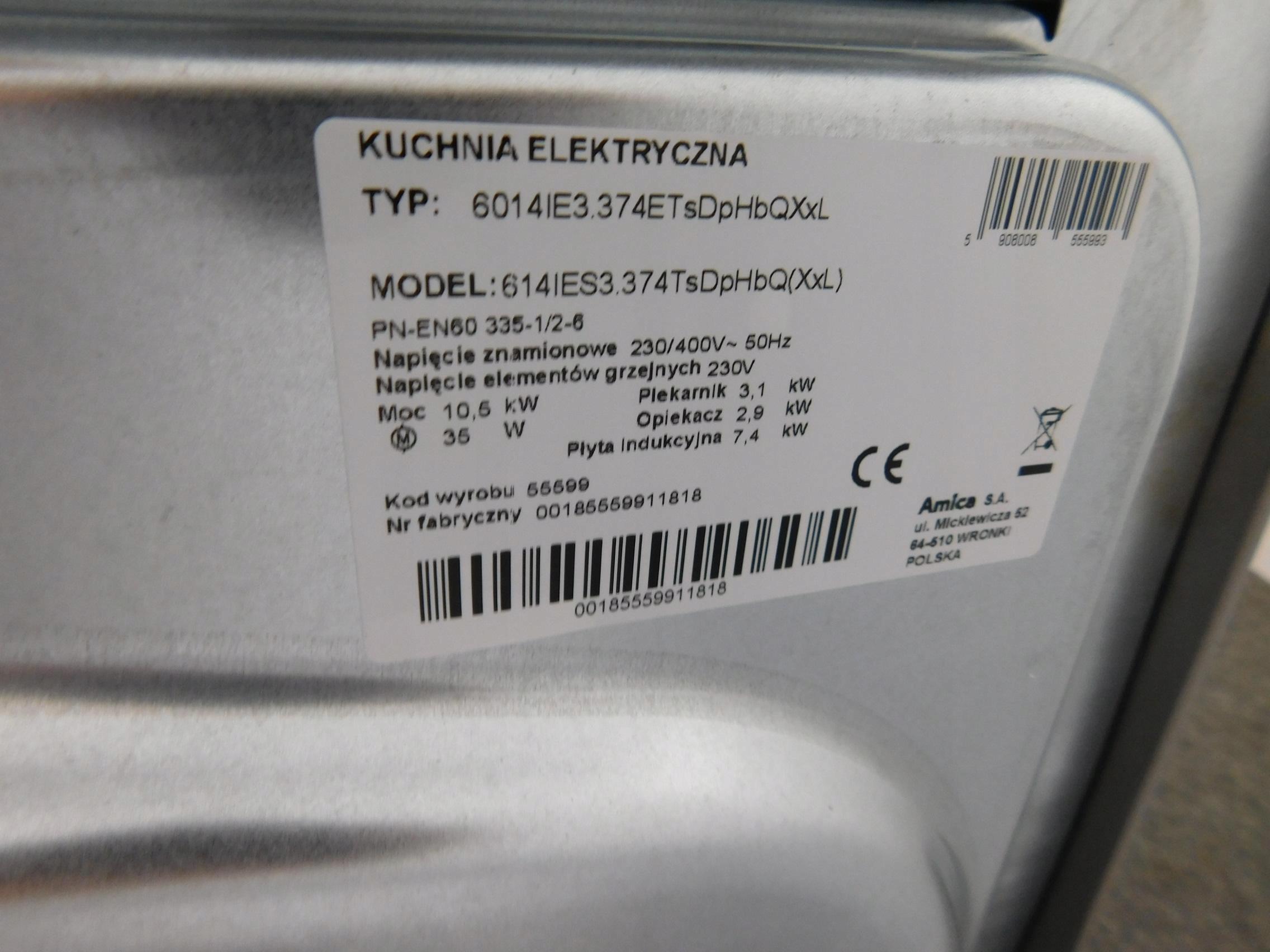 Kuchnia Elektryczna Amica 614ies3374tsdphbqxxl