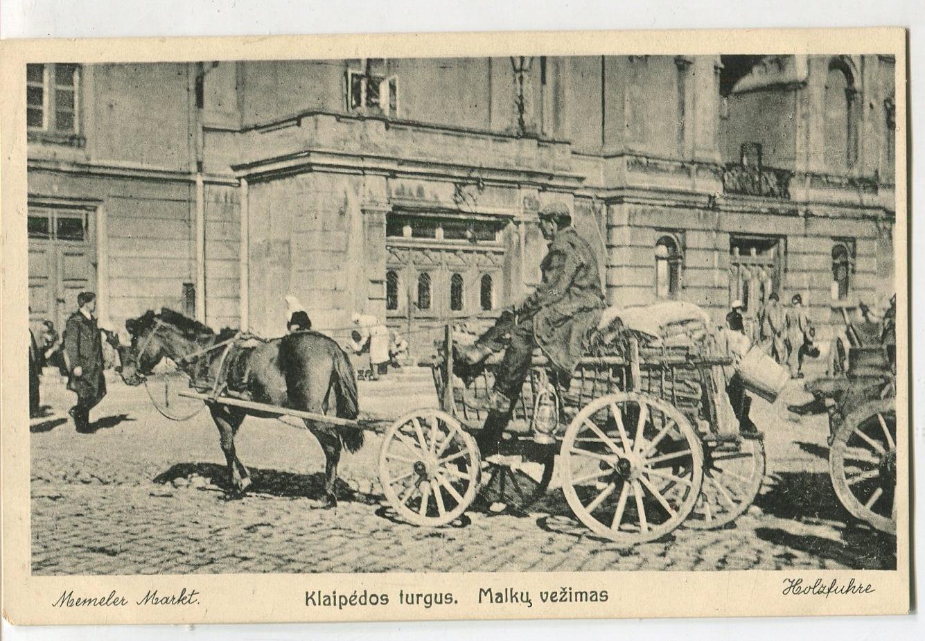 pocztówka KŁAJPEDA Memel Litwa koń wóz targ
