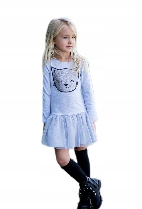 db944a8661 All for kids sukienka KOTEK TIUL NEW SZARA 92 98 - 7593482123 ...