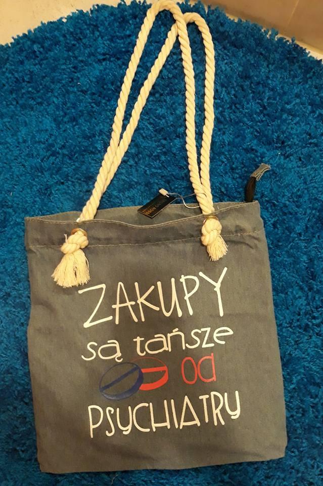 7ca61828 torba jeansowa z napisami - 7328186738 - oficjalne archiwum allegro