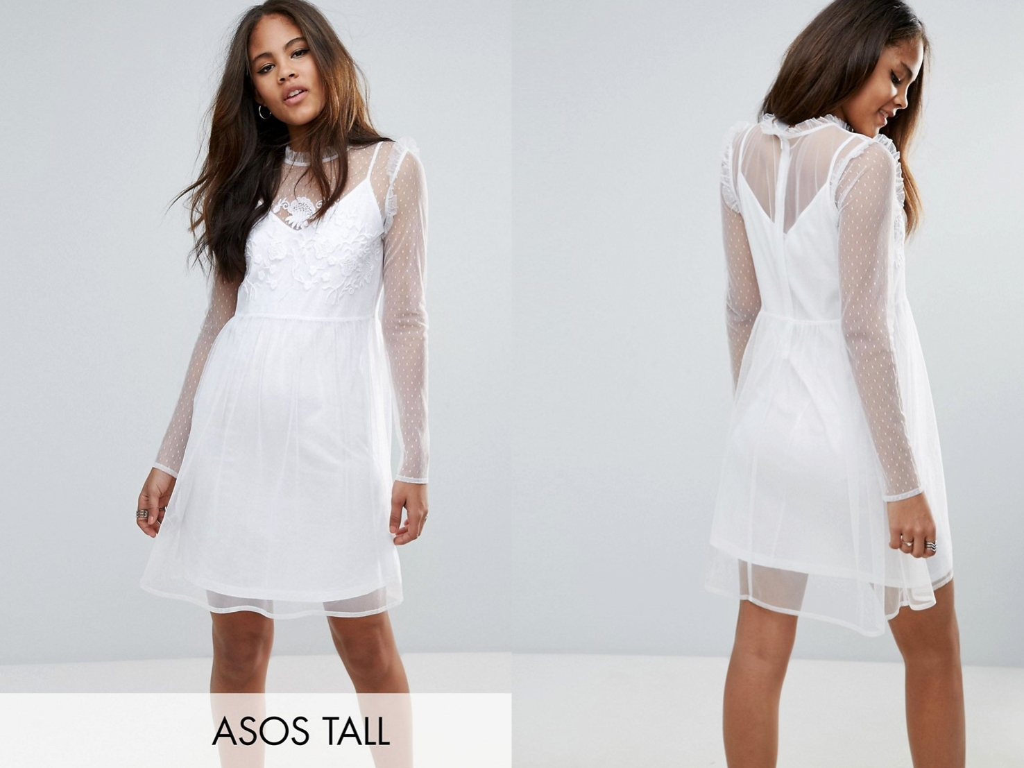 Biała sukienka damska z halką M/38