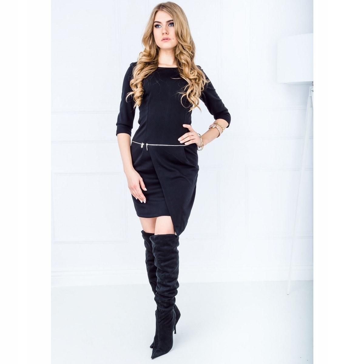 b3cb96f16f Szara asymetryczna sukienka z suwakiem 36 S - 7066923553 - oficjalne ...