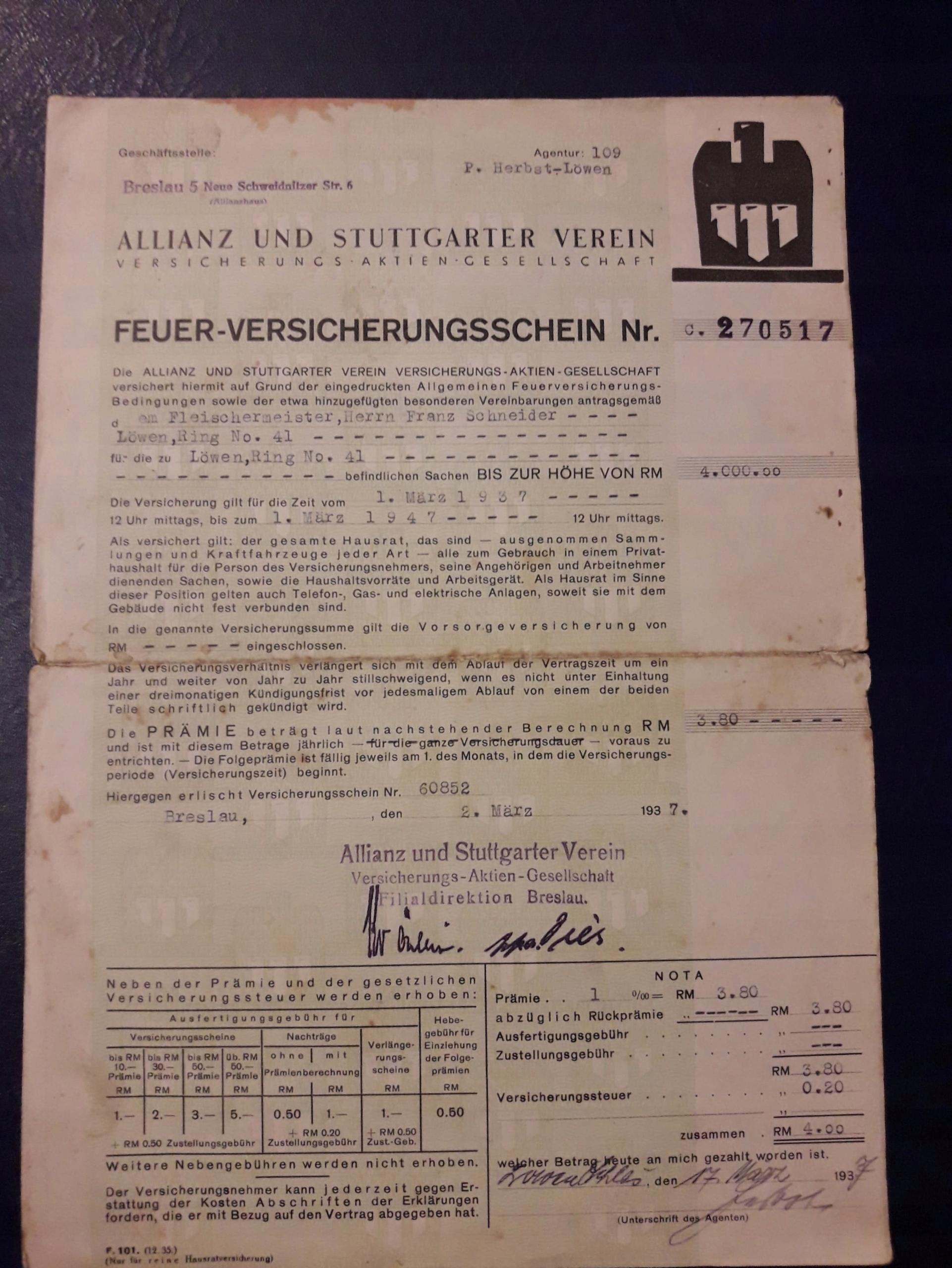 Polisy Ubezpieczeniowe 2szt.1933,1937