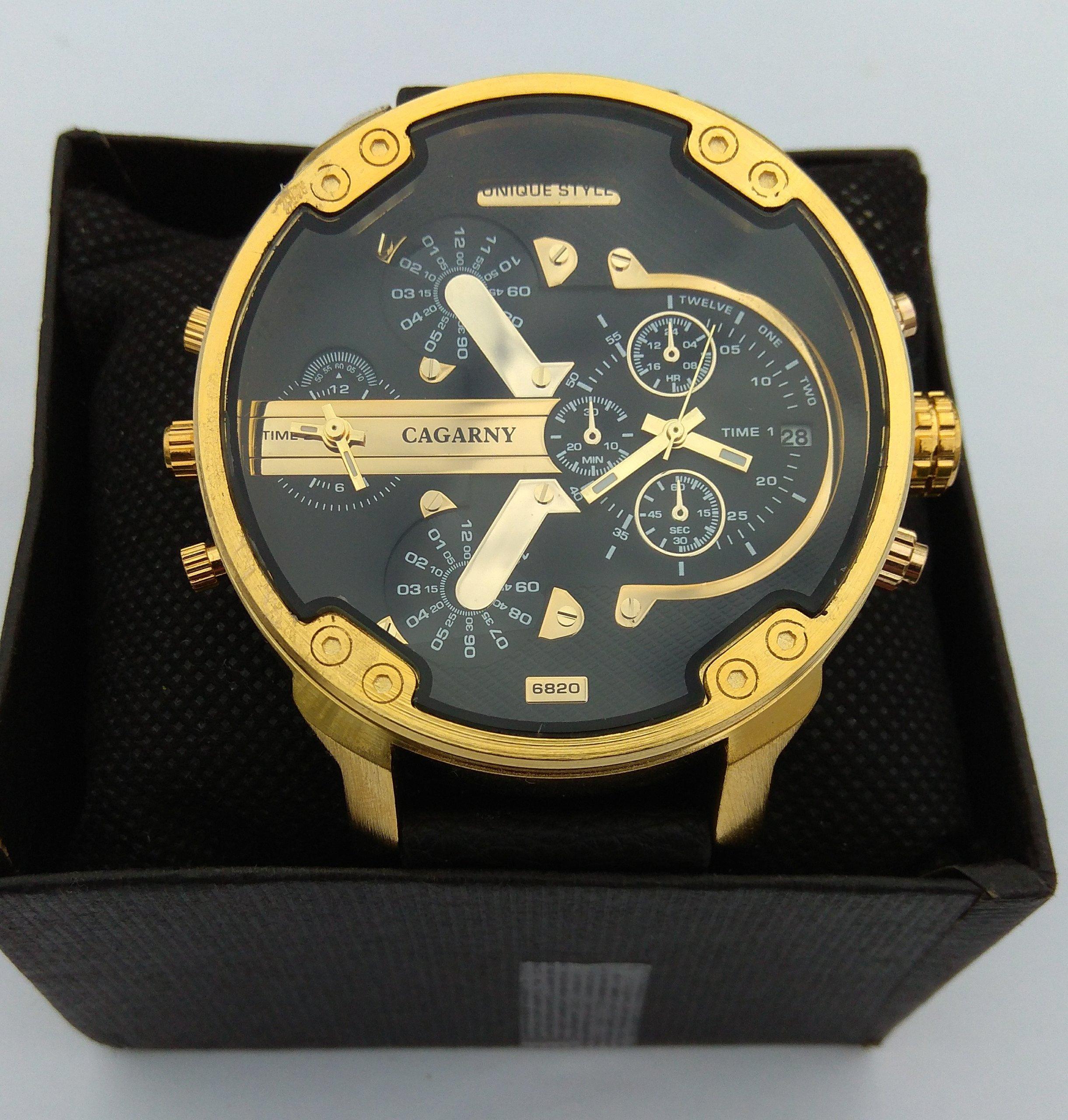 Chłodny Zegarek męski, DUŻY 5,2cm złoty Cagarny - 7305140870 - oficjalne AA67