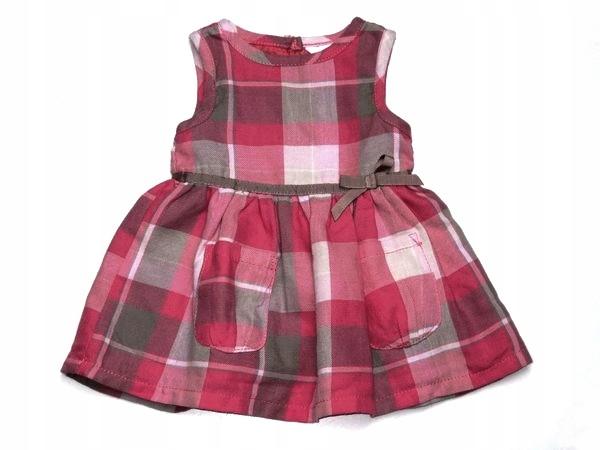 c612d22755 KOKARDKA malinowa sukienka beżowa krateczka 68 - 7678119608 ...