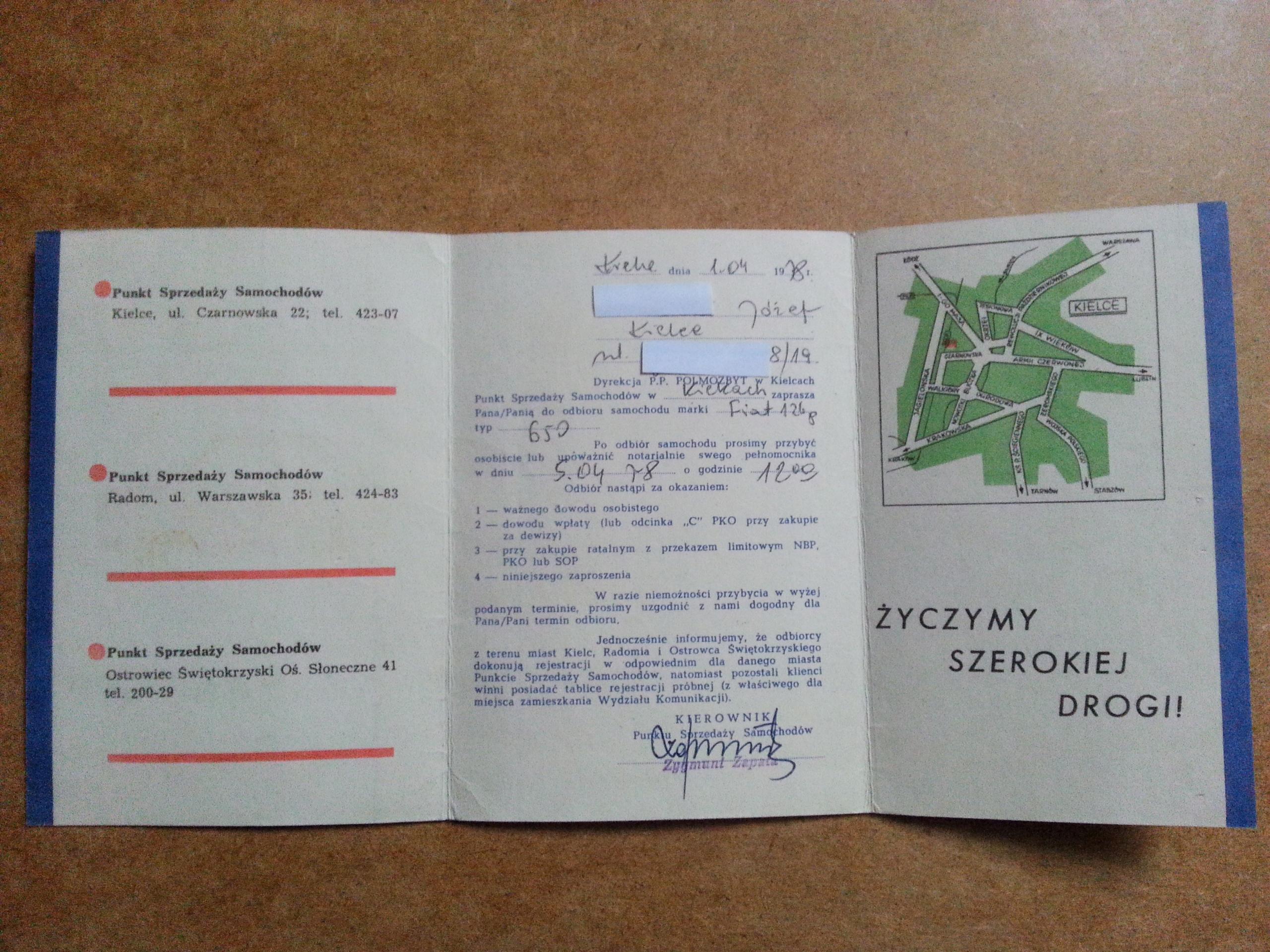 Fiat 126p Zaproszenie Po Odbiór Samochodu Prl 7716042164