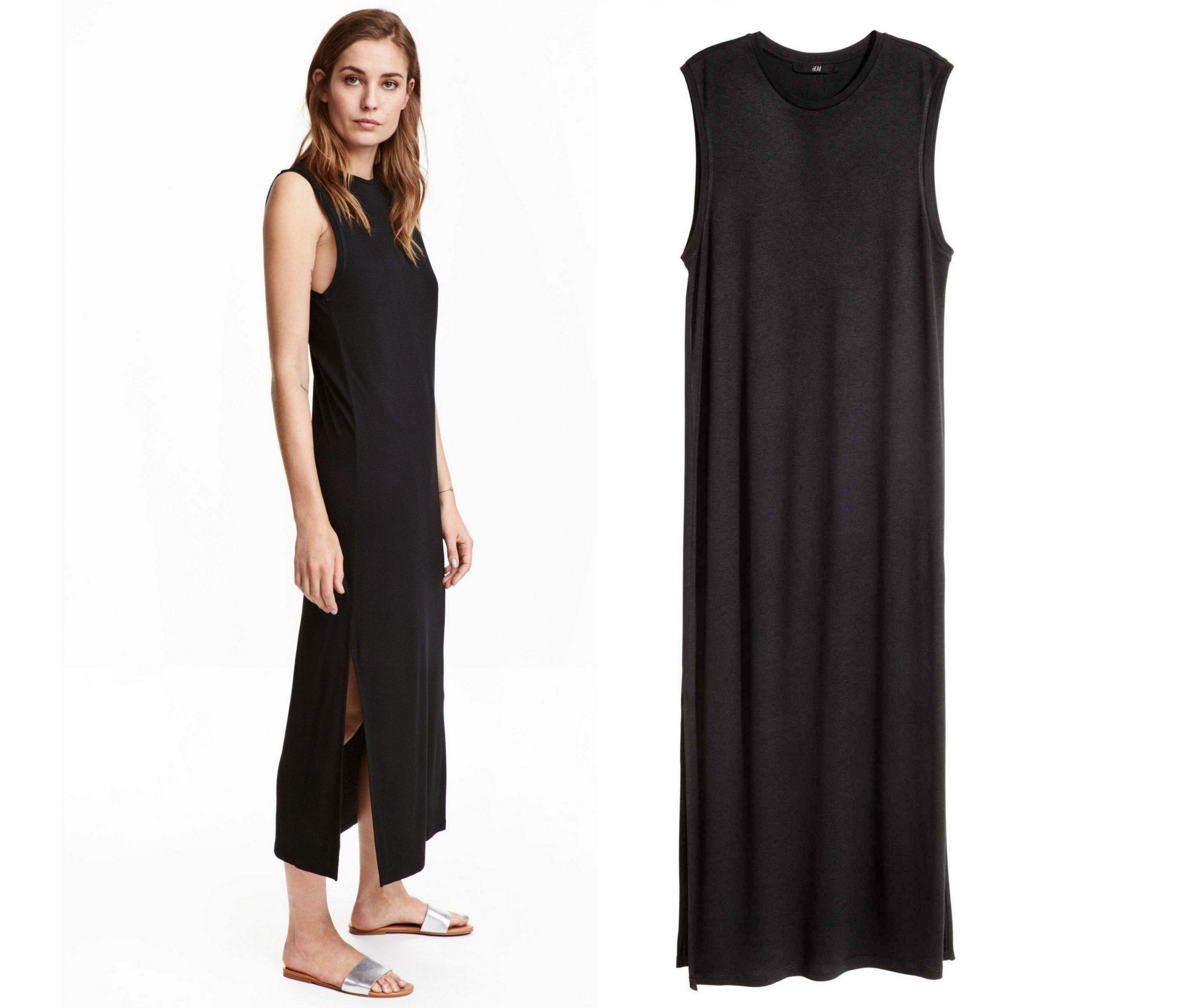 d492479e87 H M czarna suknia NOWA maxi MAFFASHION XS 34 - 7235785516 ...