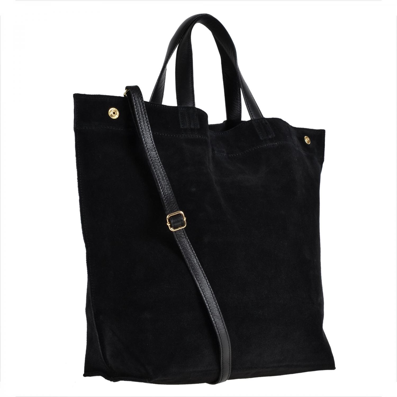 8fc035ad7fb47 Bardzo duża zamszowa torba shopper bag czarna - 7018541535 ...