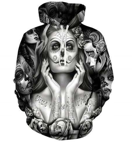 Bluza Z Nadrukiem 3d W Czaszki Tatuaże R L 7450282077 Oficjalne