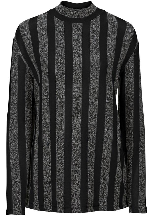 Bluzka dzianinowa pasy melanż 36/38 czarna CA646