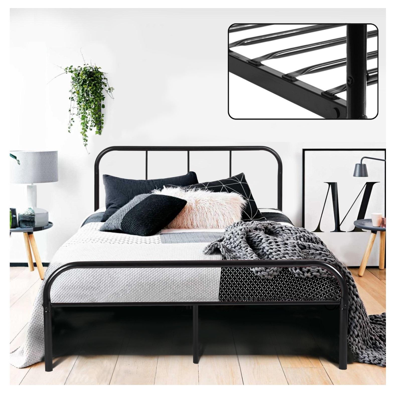 łóżko Podwójne Rama Czarne Metalowe Coavas Ccc184