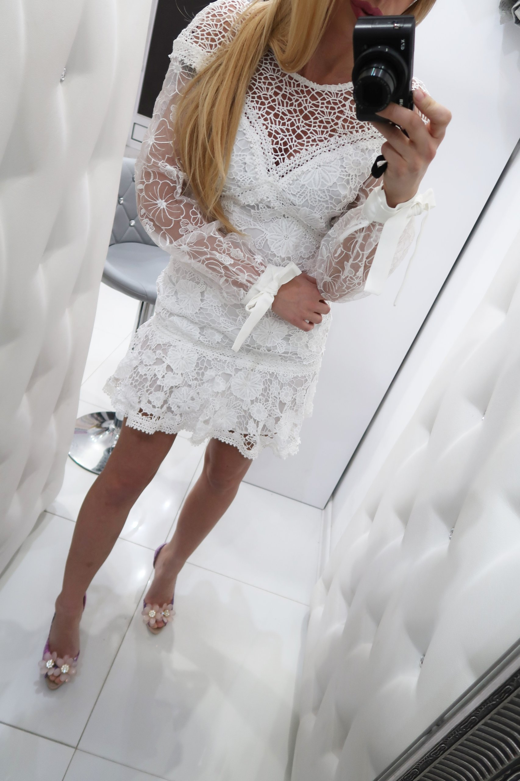 358023ec2637 sukienka ecru gipiura elegancka zdobiona hit XS - 7442332789 ...