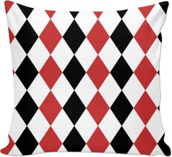 Czerwone Czarne Romby Poduszka Dekoracyjna 3d 7243143368