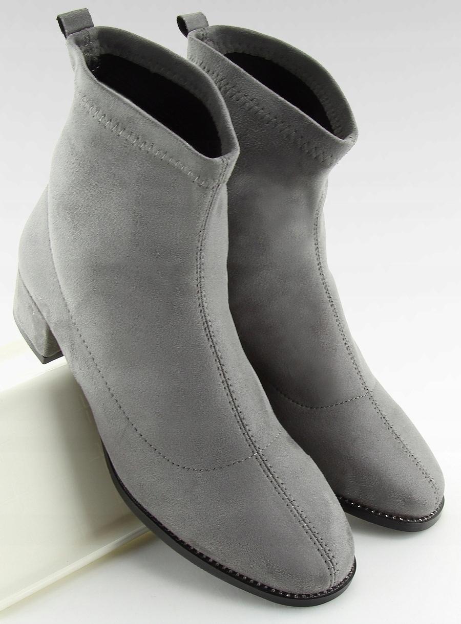 1e4b509a72df6 Botki na niskim obcasie szare buty damskie - 7562308716 - oficjalne ...
