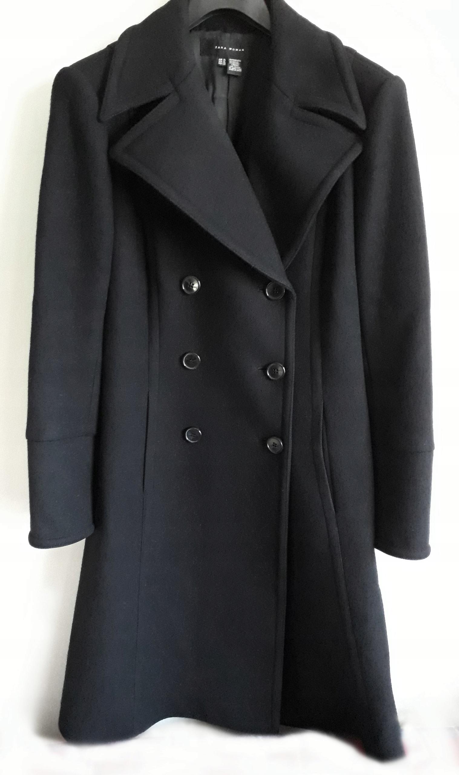 ZARA czarny wiosenny wełniany płaszcz zamki 38 M j.nowy