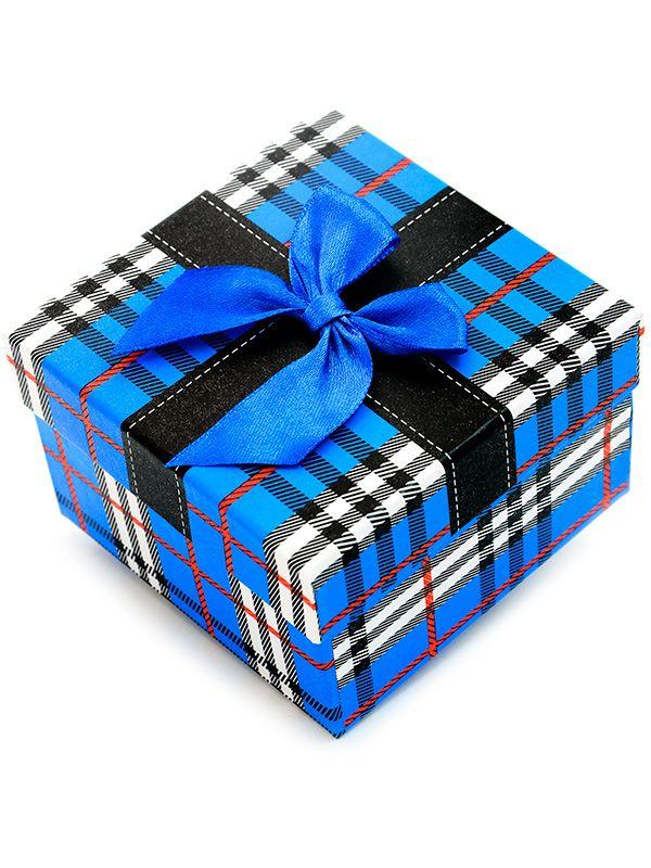 16a0b2552cc9f3 Niebieskie pudełko prezentowe na zegarek kratka - 7163986800 ...