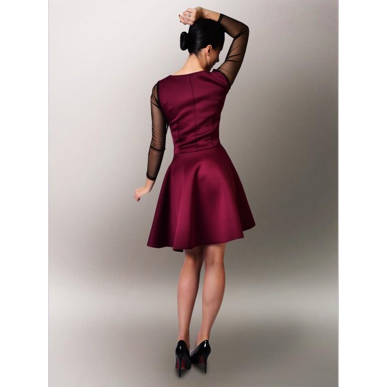 a04dcd63e0 Bordowa sukienka z pianki rękawy z tiulu WESELE - 7431149904 ...