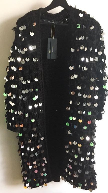 W superbly Zara czarny sweter kardigan cekiny nowy S! - 7408377217 PB13