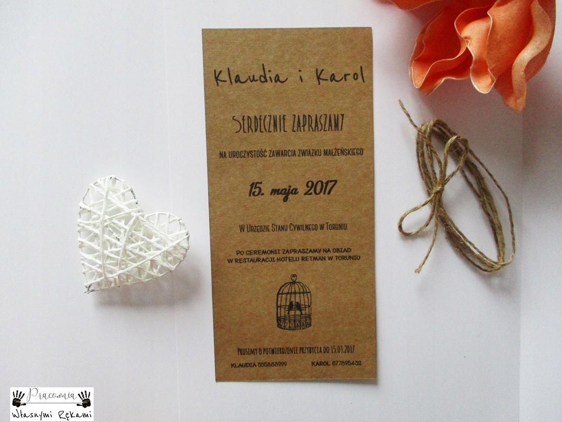 Zaproszenia ślub Zaproszenie Jednostronne Eko 7563576248
