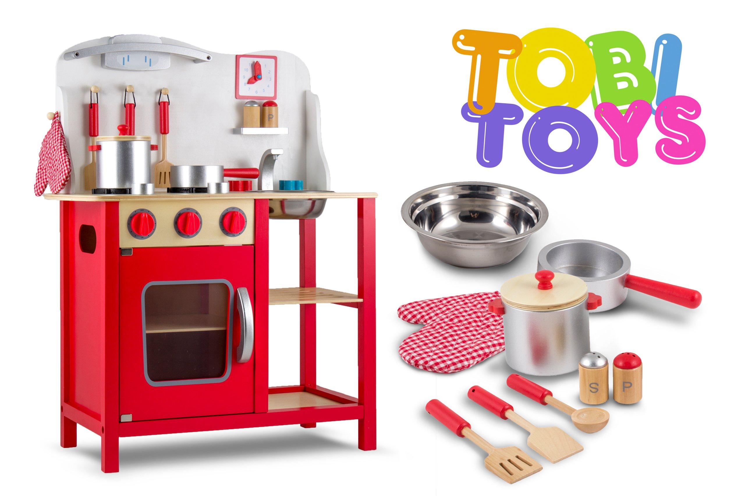 Kuchenka Drewniana Kuchnia Czerwona Tobi Toys W06