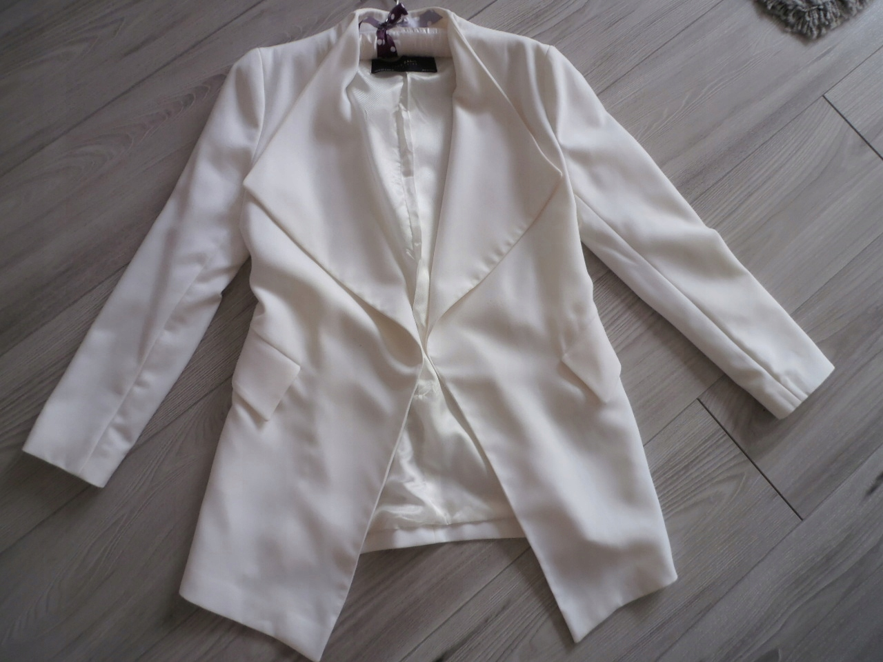 34f1cf8050ba0 Biały żakiet marynarka ZARA M kość słoniowa - 7591504790 - oficjalne ...