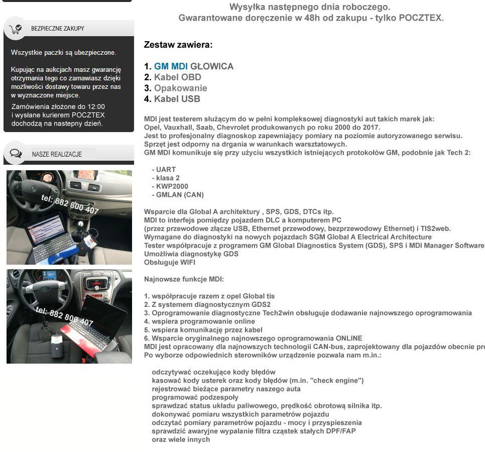 INTERFEJS OPEL SAAB GM MDI WIFI GDS2 TECH2WIN - 7253163063