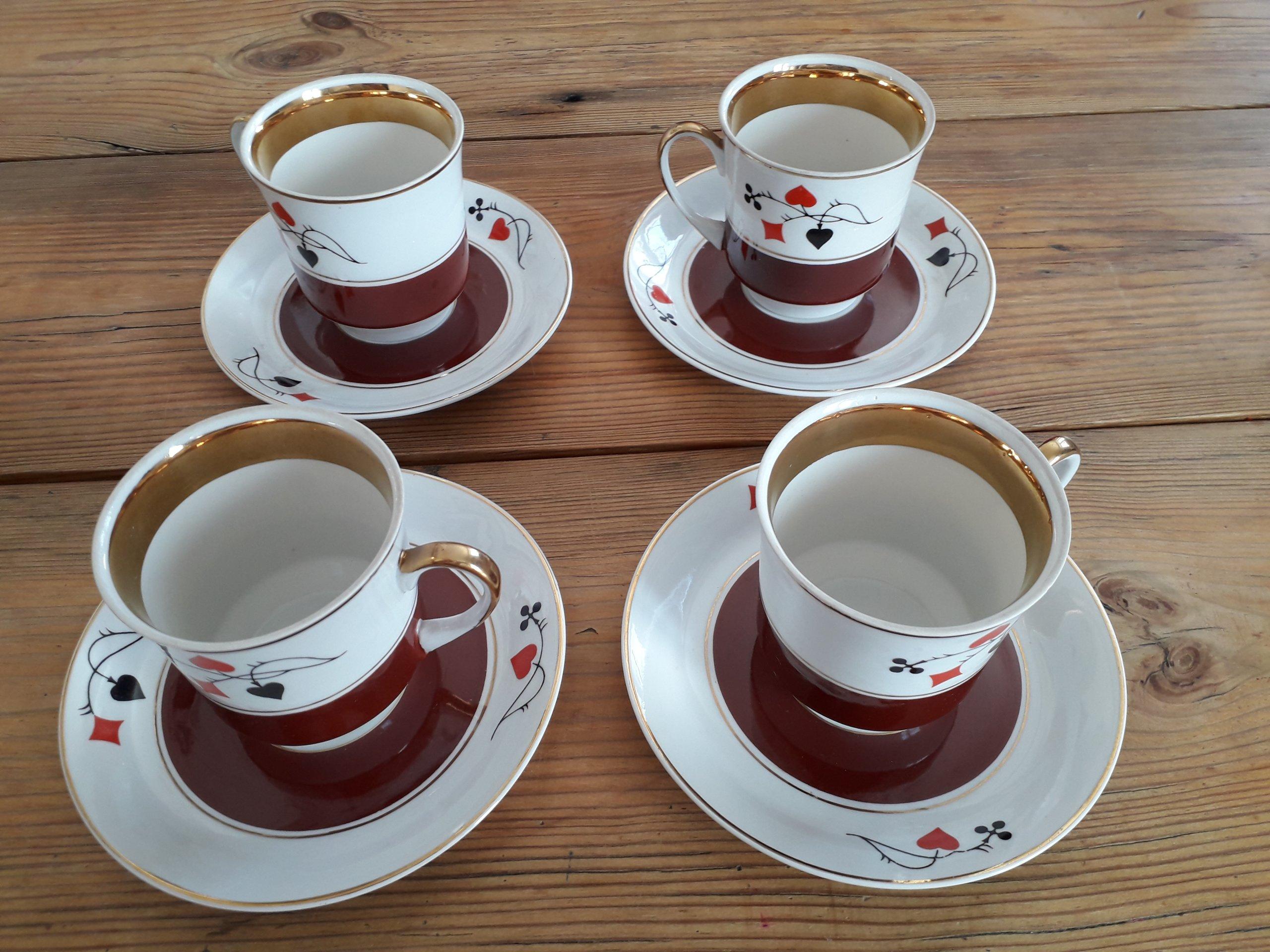 Zestaw brydżowy do herbaty Ćmielów lata 60-70 - 7203203100 - oficjalne archiwum allegro