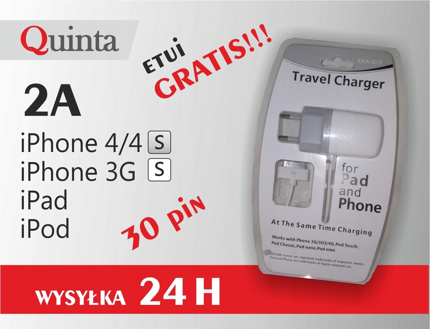 ŁADOWARKA SIECIOWA IPHONE 3B 4 4S 30 PIN MOCNA 2A