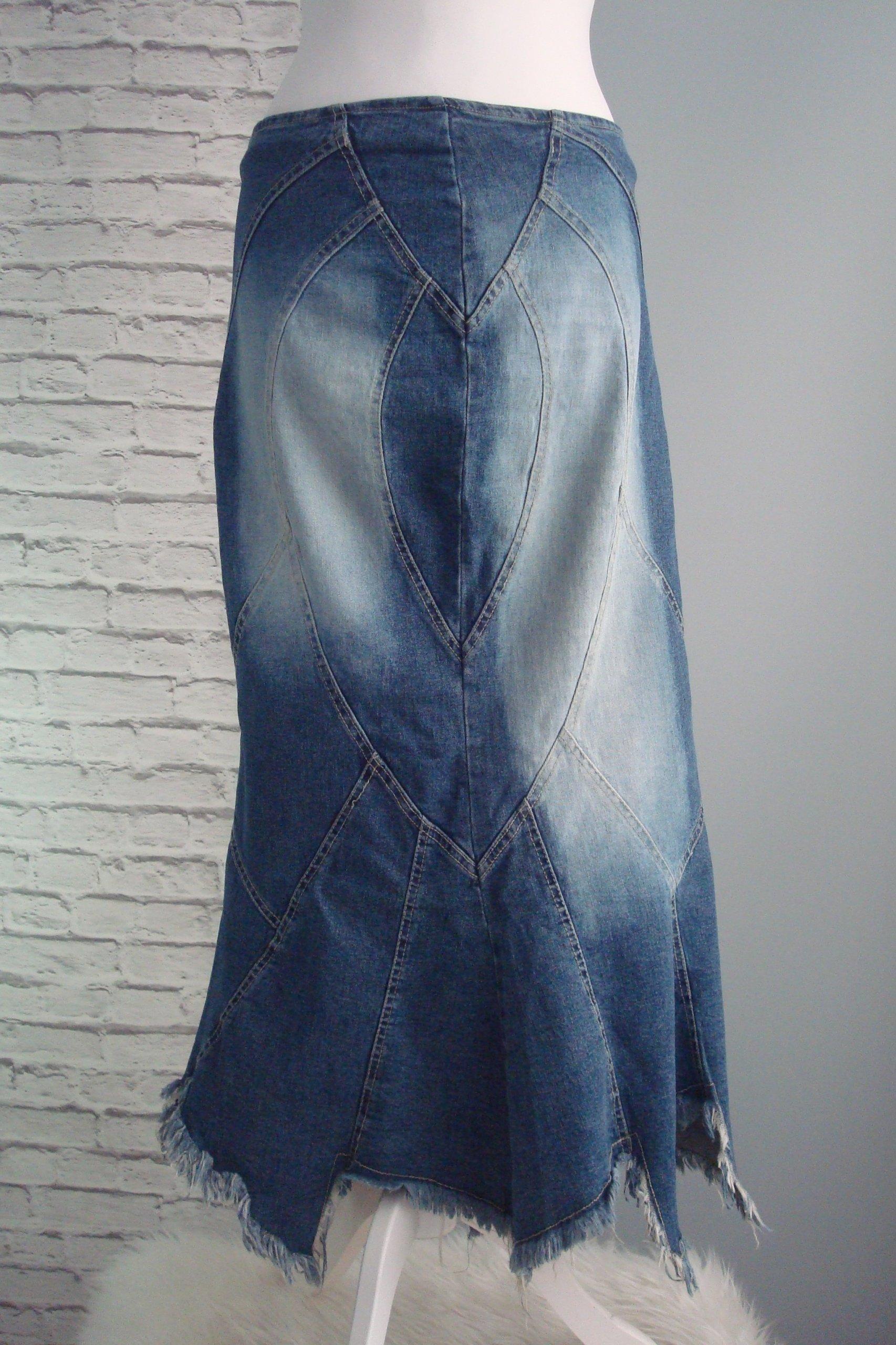 4b8936ebc9 Niebieska długa spódnica jeans asymetryczna 40 42 - 7645680205 ...