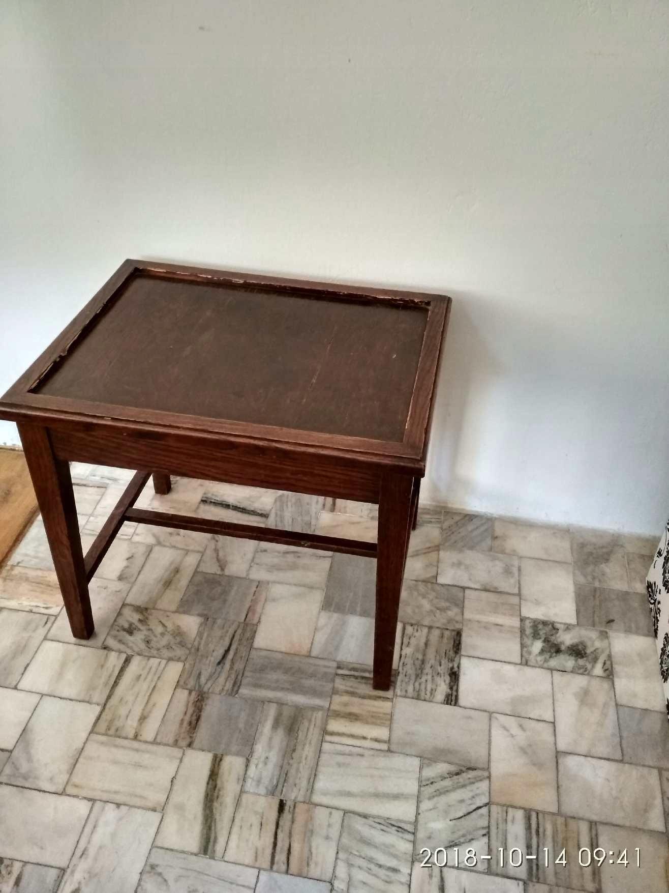 Mały Stolik Drewniany Ciemny Orzech 7620000564 Oficjalne