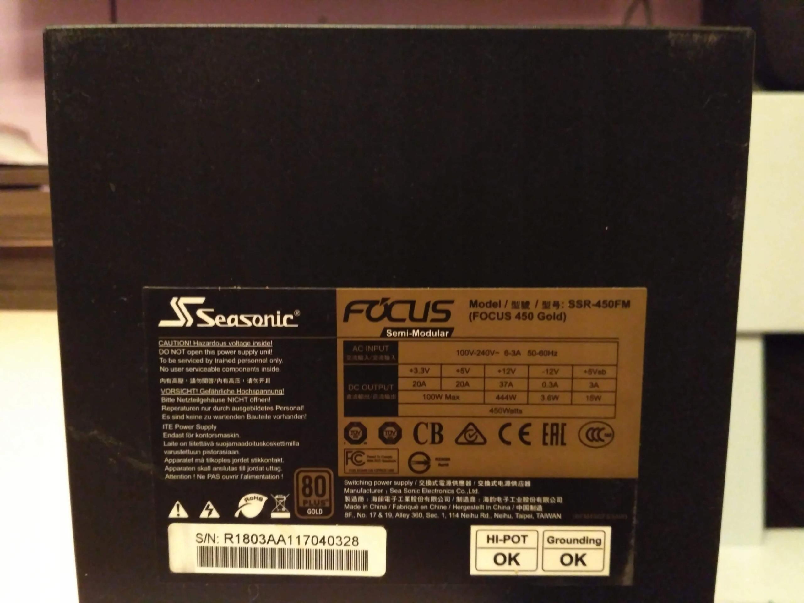 Zasilacz SeaSonic Focus Gold 450W (SSR-450FM)