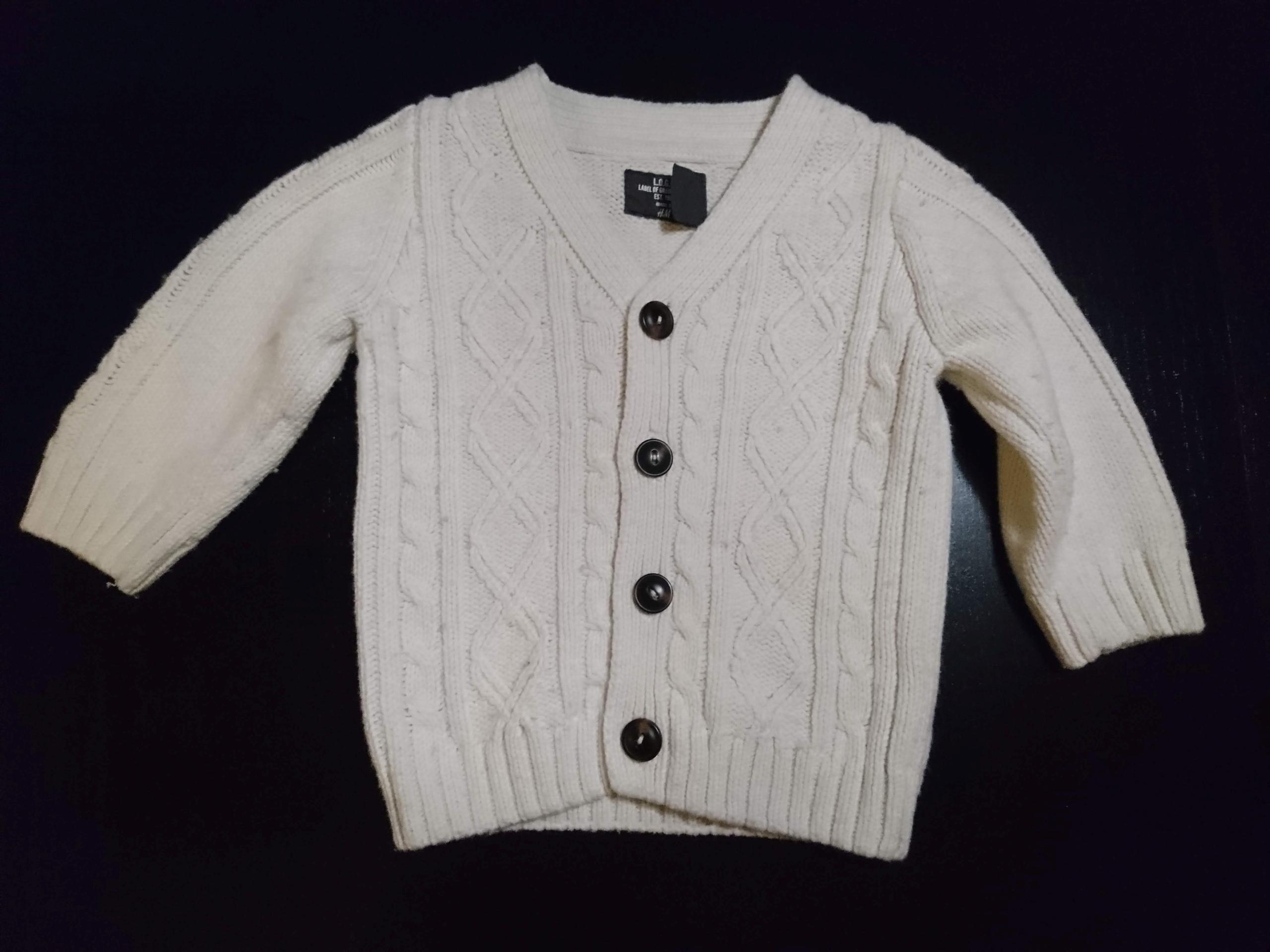 9cf1b0c244 Sweterek kardigan h m r.74 biały sweter guziki - 7726988188 ...