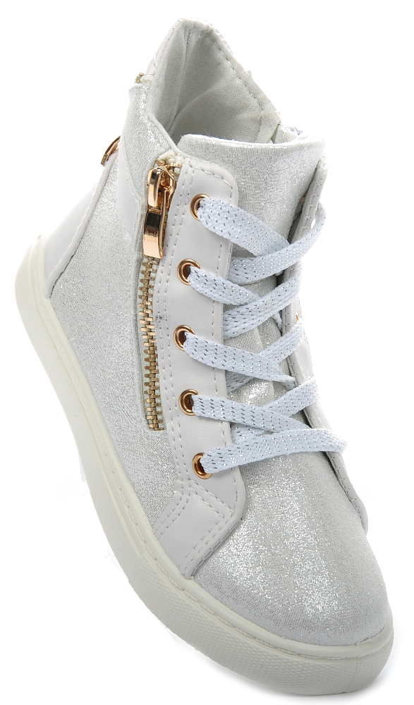 Buty trampki sneakersy dziecięce SREBRNE 1380 30