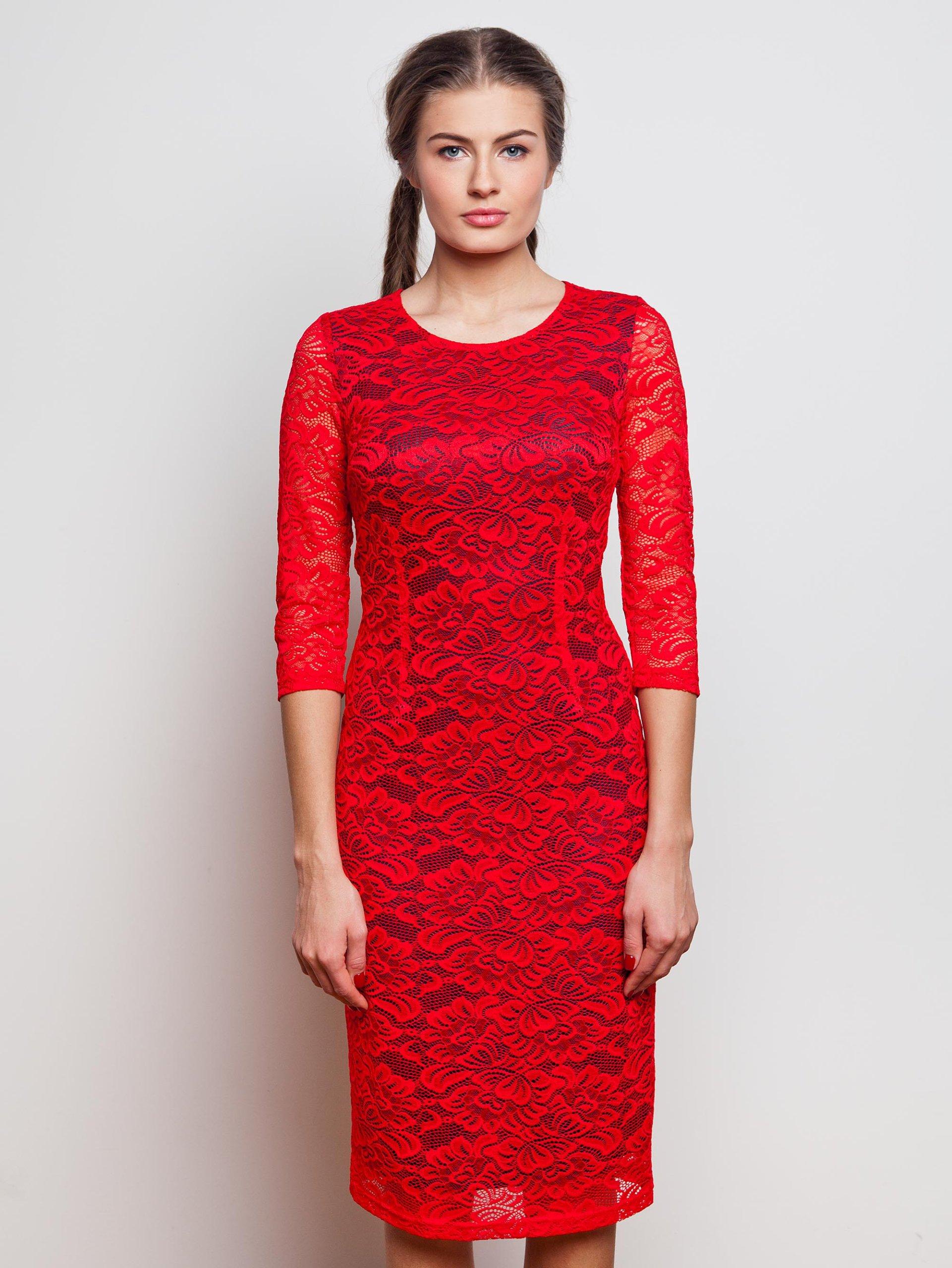 a6fa6d9869 Elegancka Kobieca Czerwona Sukienka Koronki 42 XL - 6965448366 ...