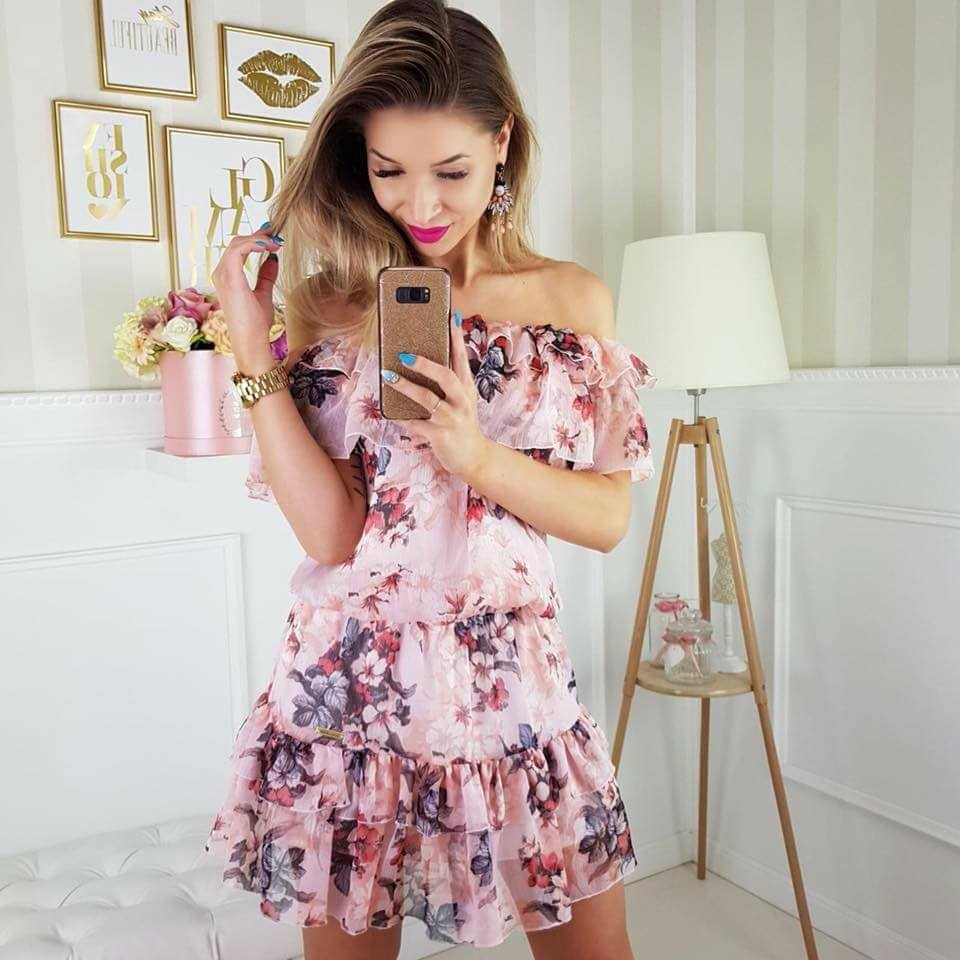 e52b978b55 ekskluzywna zwiewna sukienka hiszpanka kwiaty XS S - 7331857634 ...