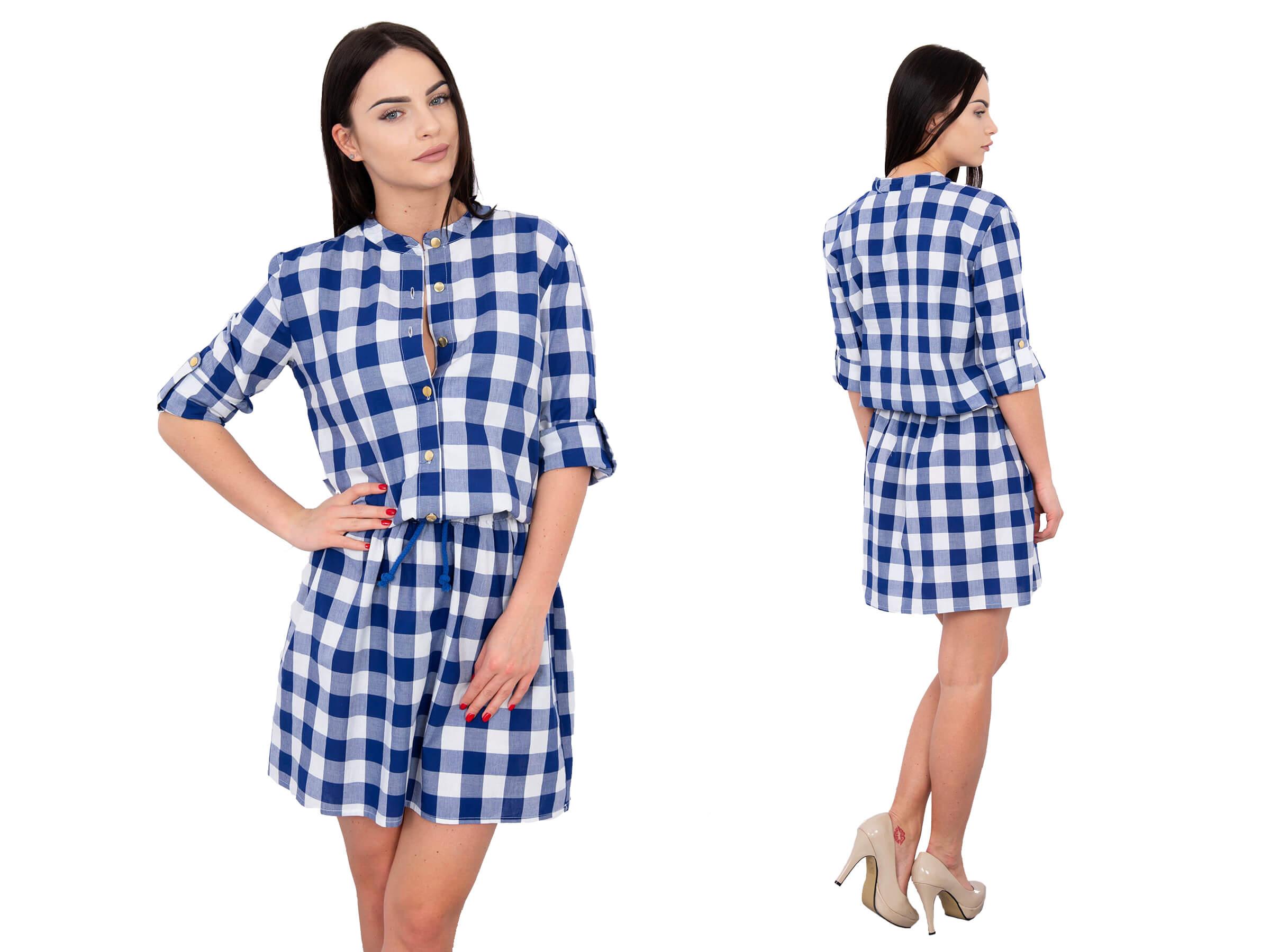 684a2bd9 Sukienka w kratkę zapinana na guziki niebieska - 7315730653 ...