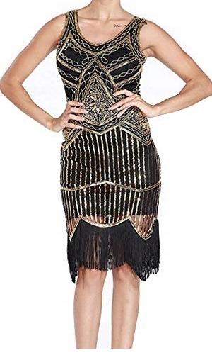 1587471fc7 U2807 Sukienka koktajlowa M Czarno-złota Cekiny - 7570438729 ...