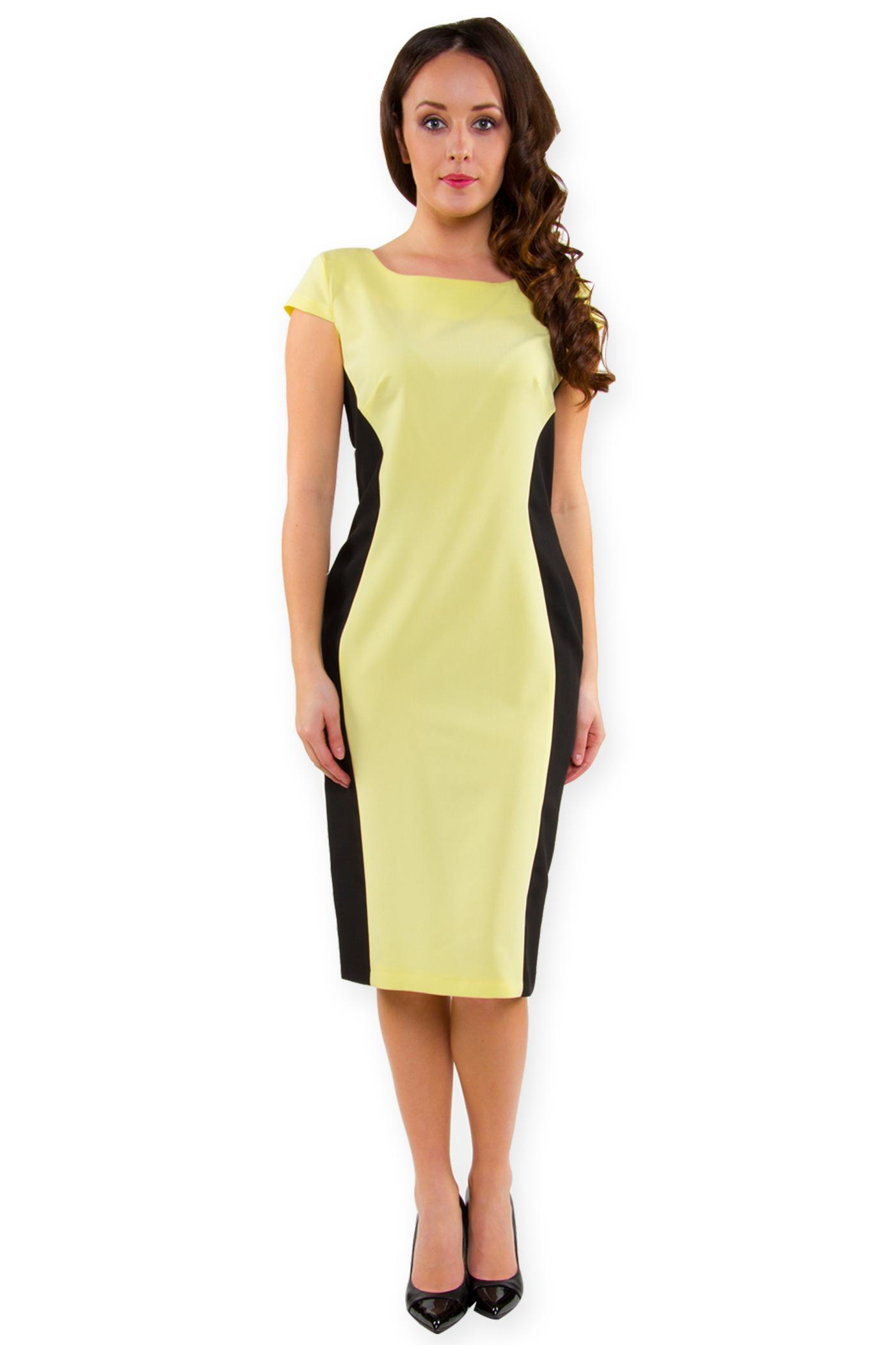 e7497c70eb Sukienka wysmuklająca letnia klepsydra żółta 52 - 6923848120 ...