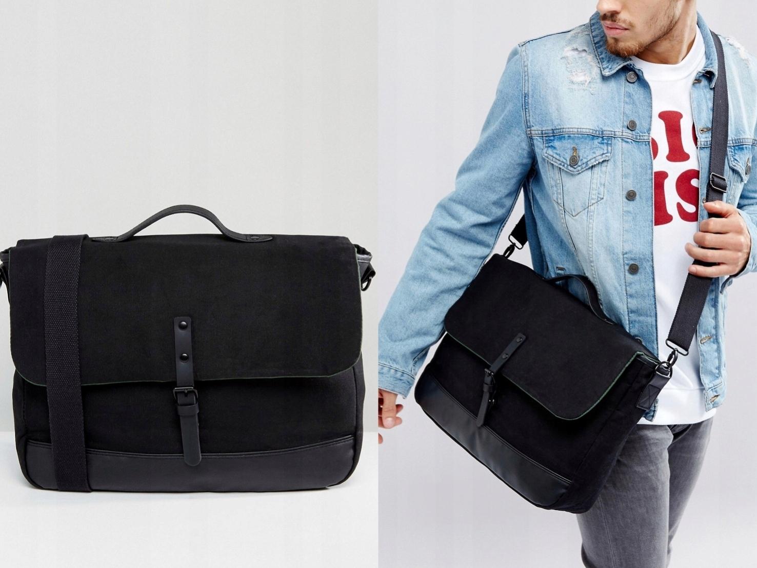 Czarna torba męska na pasku