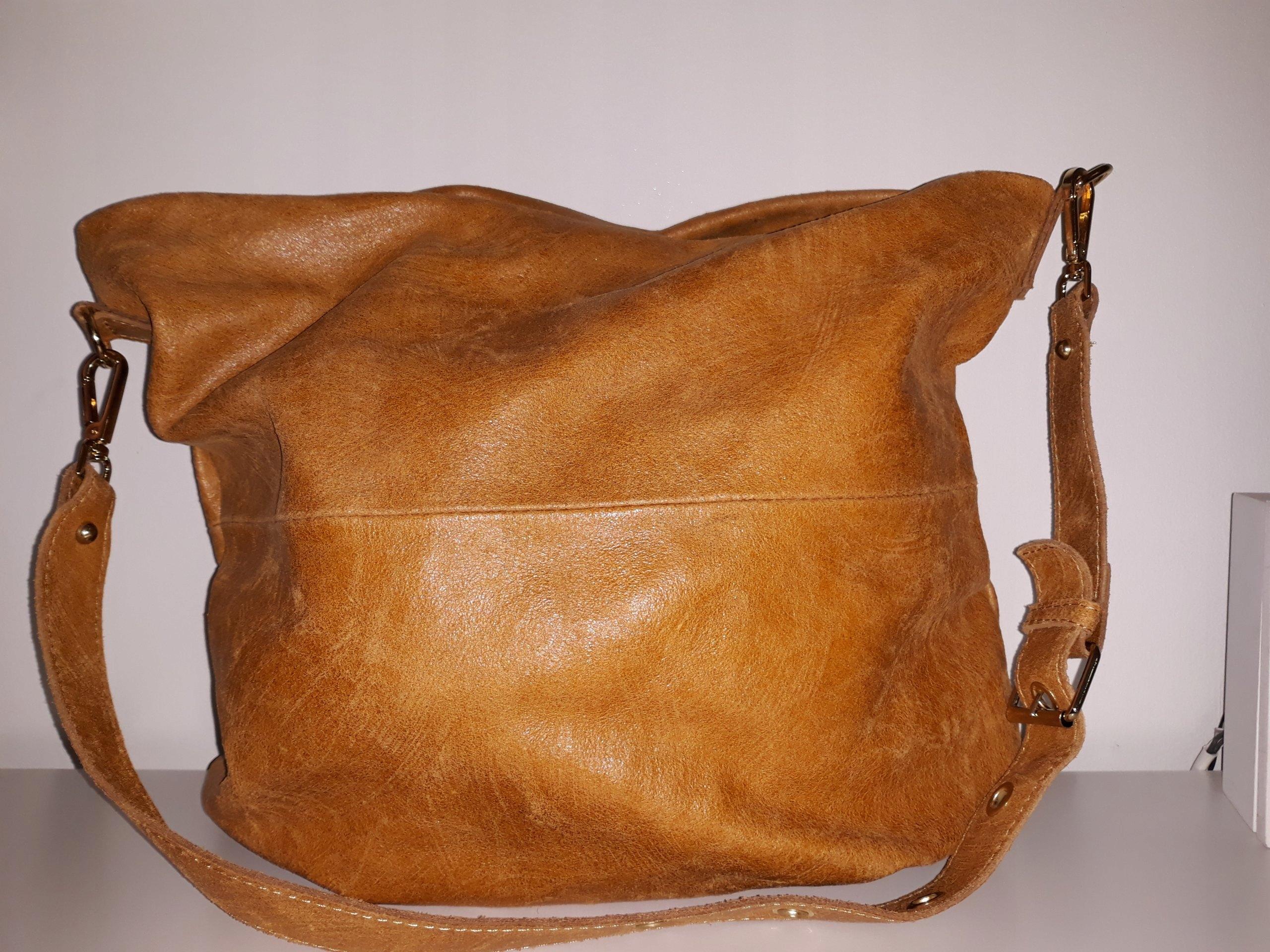 938e2fbd24931 Skórzana włoska torebka worek camel NA WIOSNĘ ! - 7429965807 ...