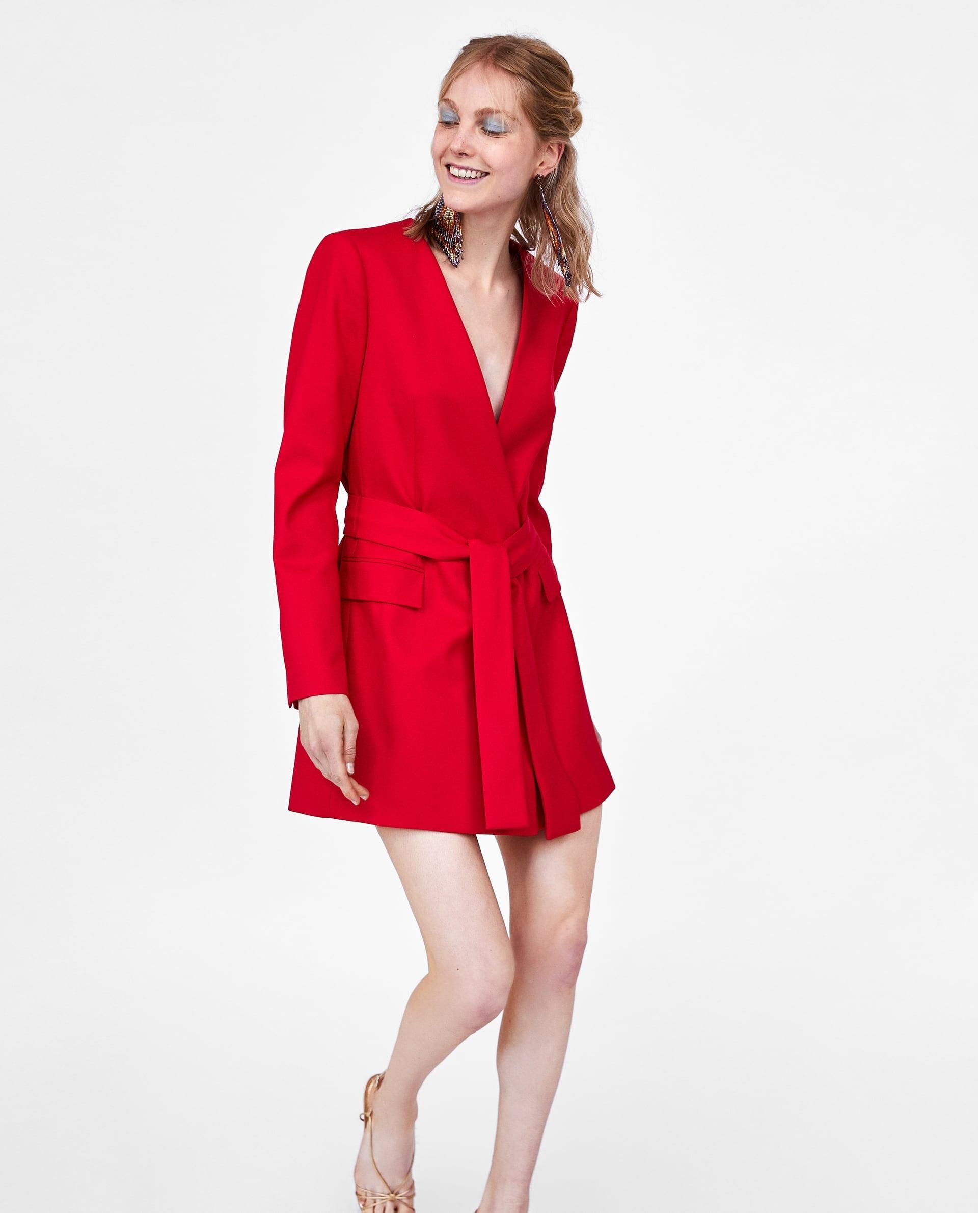 109f678068 ZARA Sukienka o kroju marynarki wiązana czerwona L - 7461641627 ...