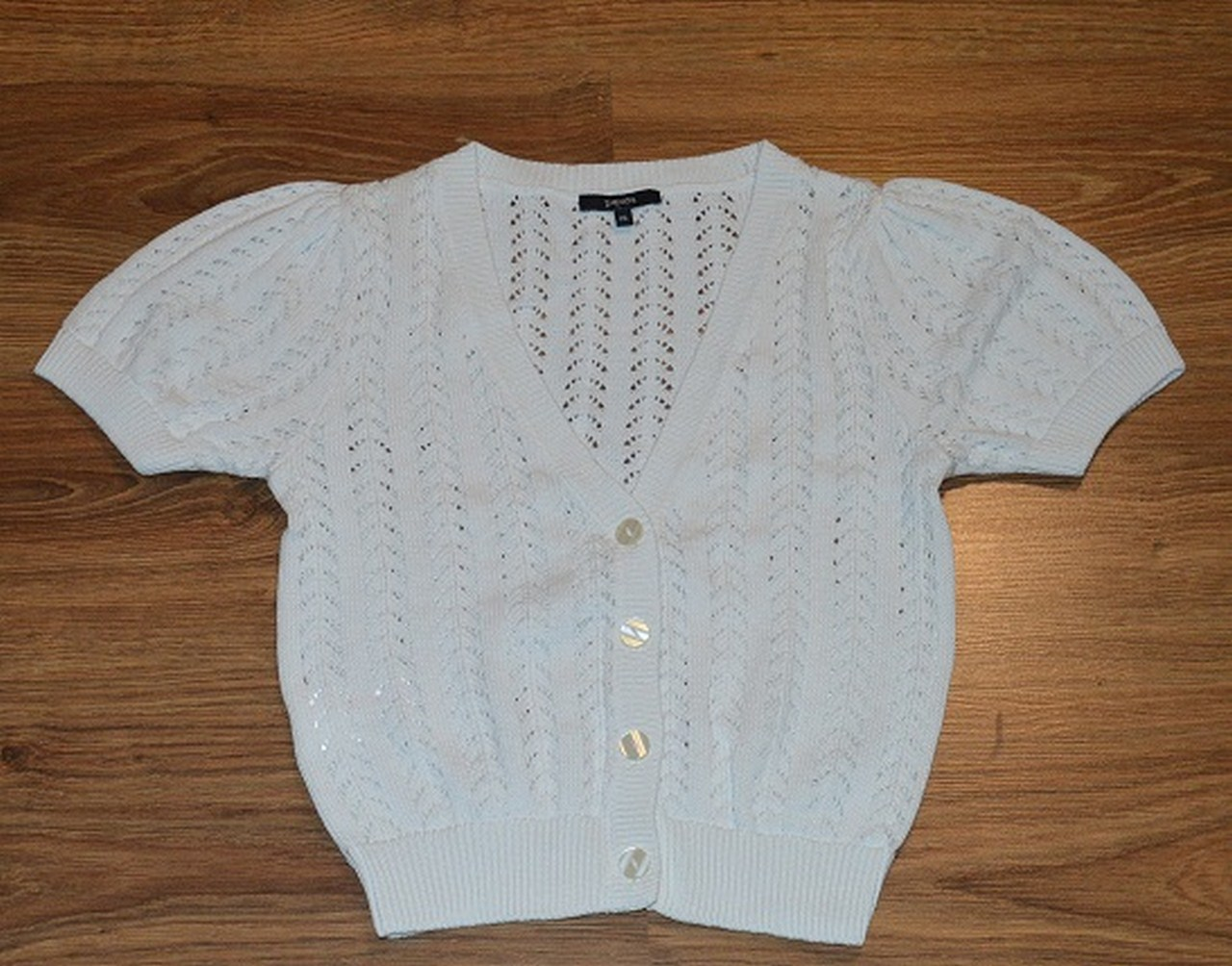 Bawełniana narzutka - sweterek - Papaya - 38