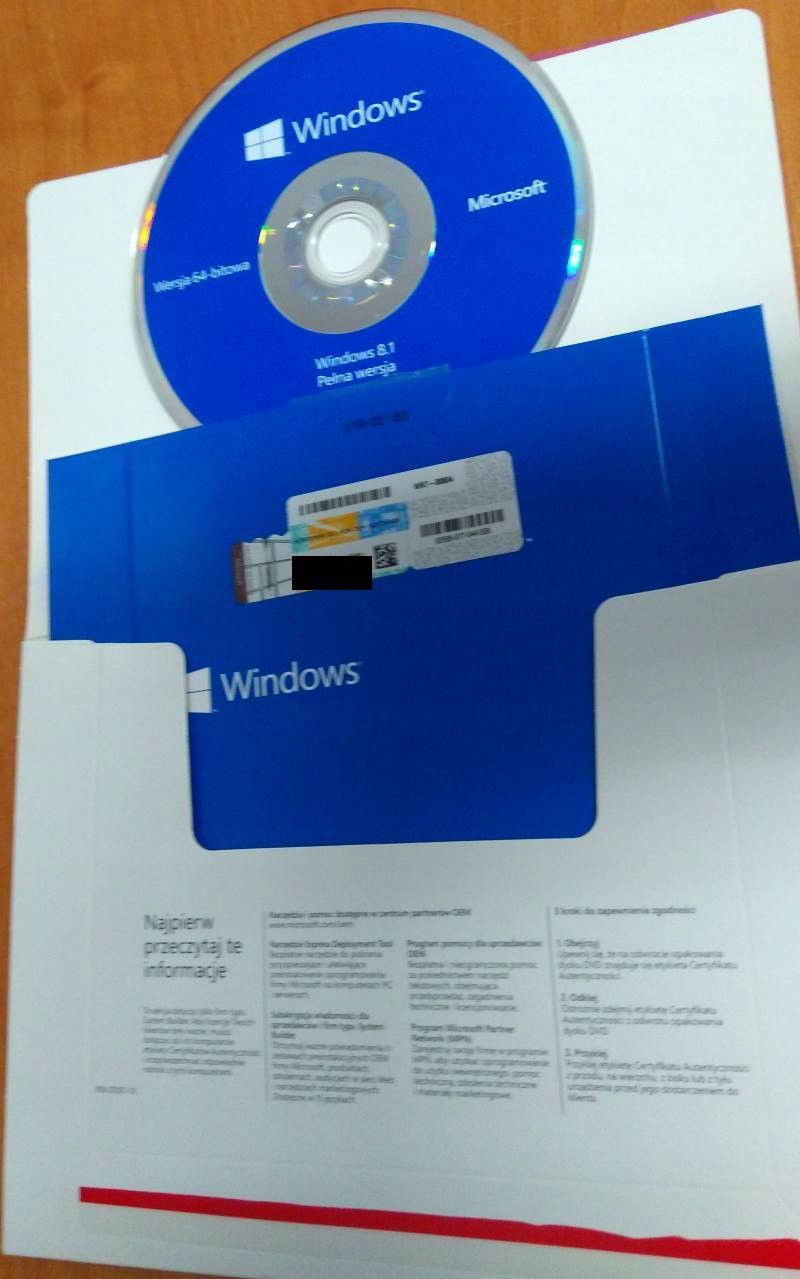 Windows 8.1 OEM PL x64 +ram