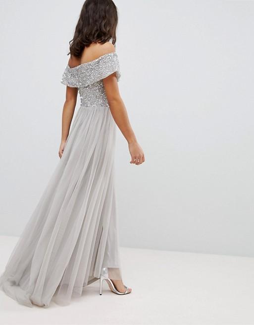 375b7a30f7 Długa suknia wieczorowa srebrna ASOS 34 - 7268921422 - oficjalne ...