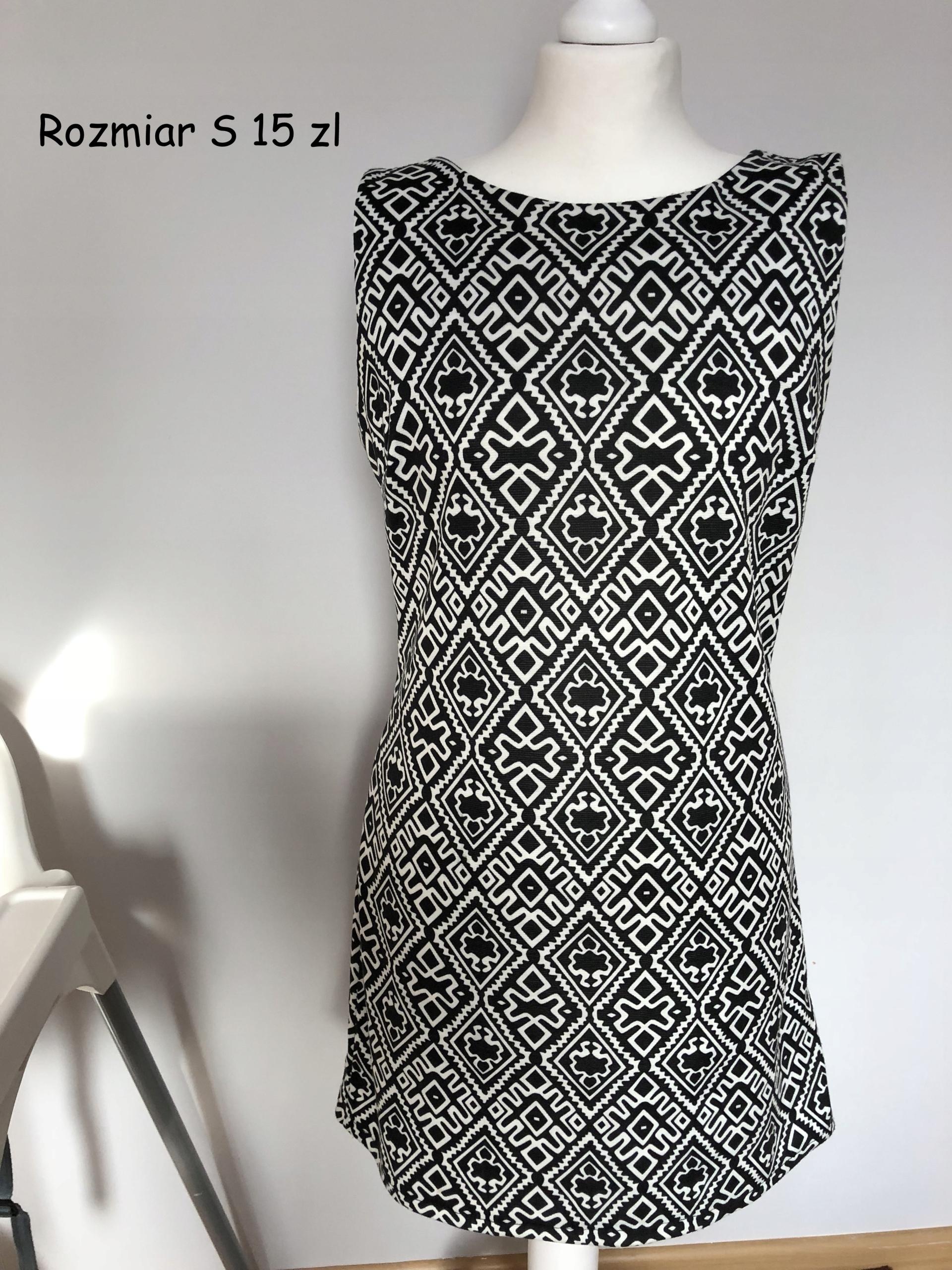 d11f9f3d0d Sukienka czarno-biała we wzory rozmiar S - 7477998269 - oficjalne ...