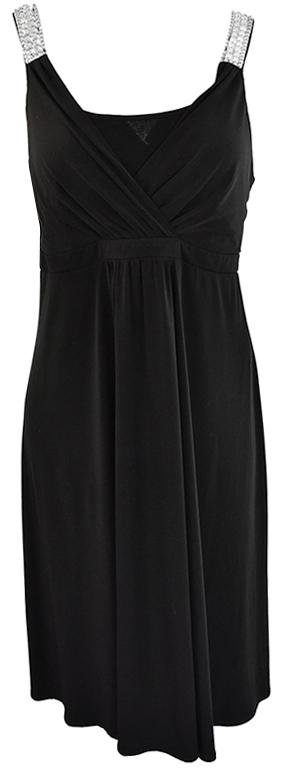 lZ1453  czarna sukienka ze zdobieniem 44/46