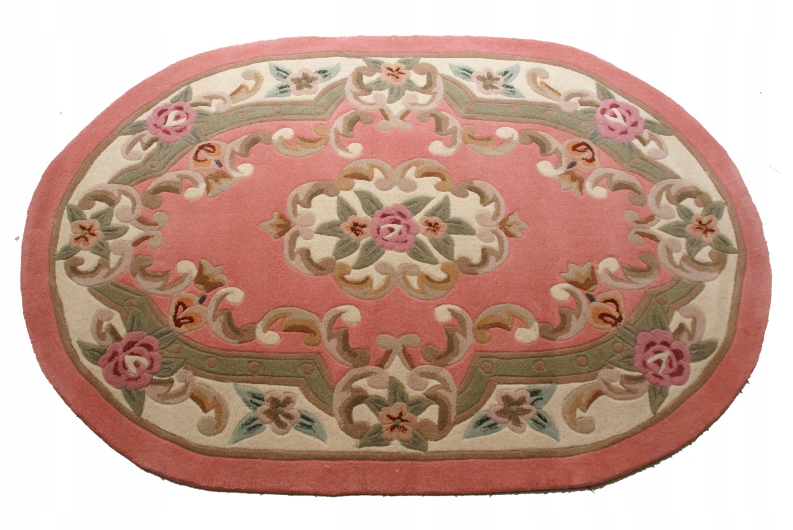 Wełniany Dywan Aubusson Różowy Owal 122x183 6960004847