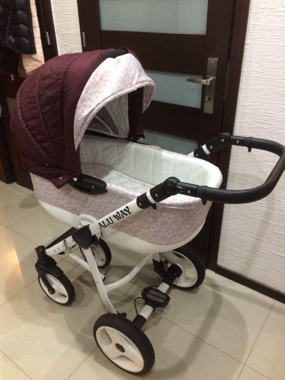 Wózek 3 w 1 bordowy zadbany piękny aluminio