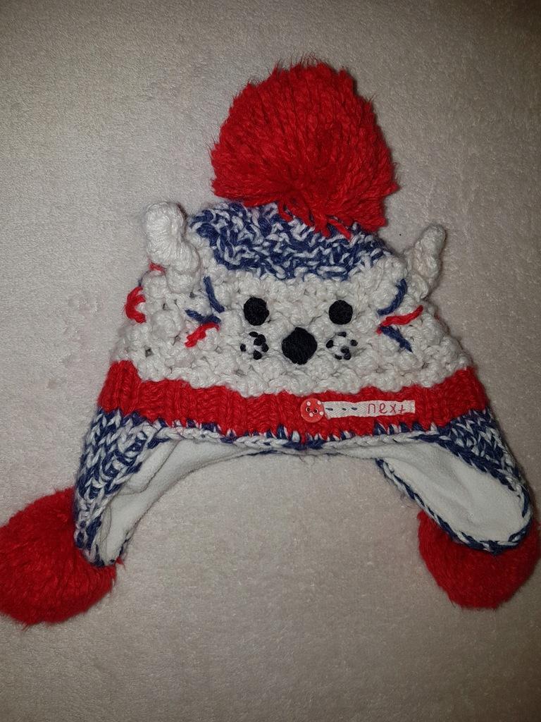 NEXT ciepła zimowa czapka kotek 1-2 lata